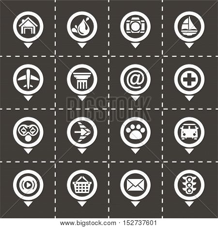 Vector Map pointer icon set on black background