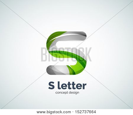 S letter business logo, modern abstract geometric elegant design. Created with waves