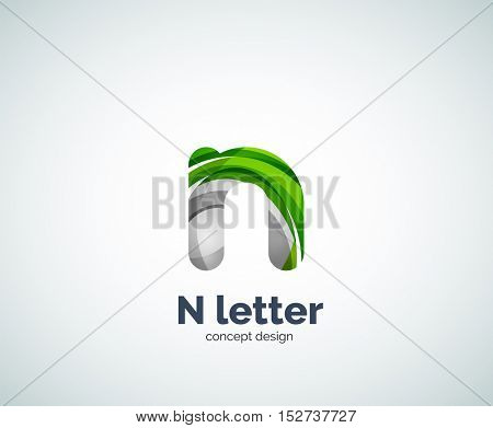 N letter business logo, modern abstract geometric elegant design. Created with waves