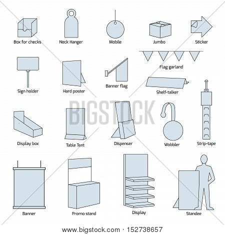 Point Of Sales Materials. Vector set isolated on white.