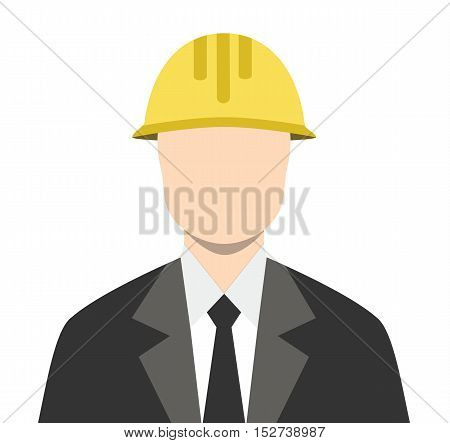 Engineer Architect Business Man Isoalated Flat Icon Vector Stock - Business Man Architect Yellow Builder Helmet