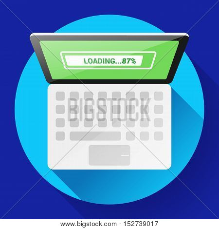 Open Laptop Top View Vector Flat Icon Office PC