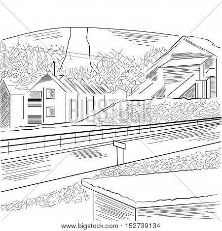 Countryside with the mountain, houses and road. Hand drawn vector. EPS.