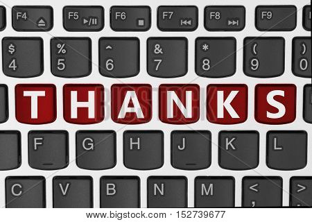 Thank you for your online order A close-up of a keyboard with red highlighted text Thanks