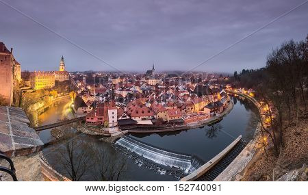 Panoramic view of beautiful city Cesky Krumlov with castle and church on river Vltava Czech republic