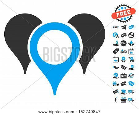 Map Pointers pictograph with free bonus icon set. Vector illustration style is flat iconic symbols, blue and gray colors, white background.
