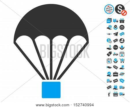 Parachute pictograph with free bonus symbols. Vector illustration style is flat iconic symbols, blue and gray colors, white background.