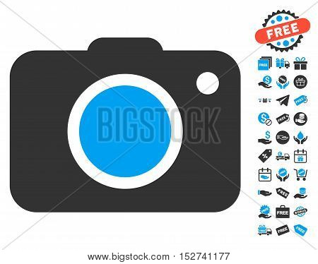 Photo Camera pictograph with free bonus images. Vector illustration style is flat iconic symbols, blue and gray colors, white background.