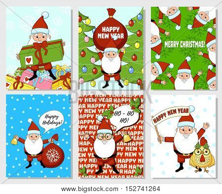 Santa Claus Christmas card. New Year collection card.