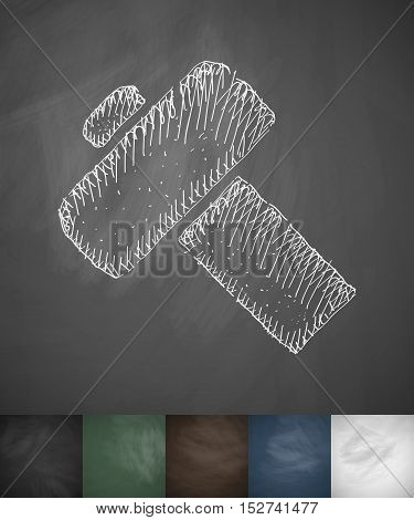 gavel icon. Hand drawn vector illustration. Chalkboard Design
