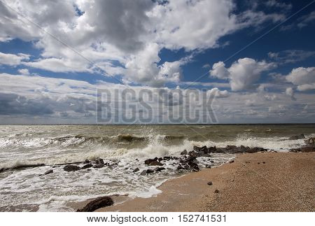 Sea surf on a windy day at the Sea of Azov