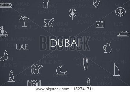 Thin Stroke Line Icons of Dubai on White Background