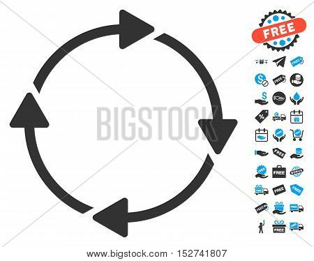 Rotation icon with free bonus icon set. Vector illustration style is flat iconic symbols, blue and gray colors, white background.