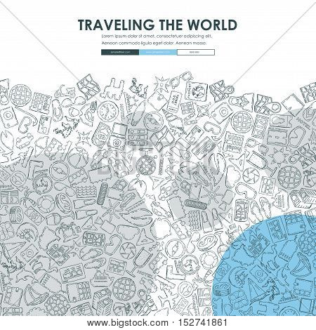tourism Website Template Design with Doodle Background
