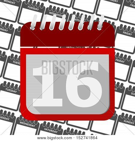Red Calendar - Vector Icon number 16