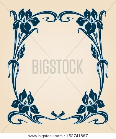 Art Deco Frame With Iris.