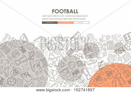 football Website Template Design with Doodle Background