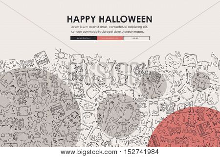 Halloween Website Template Design with Doodle Background