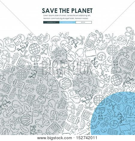 ecology Website Template Design with Doodle Background