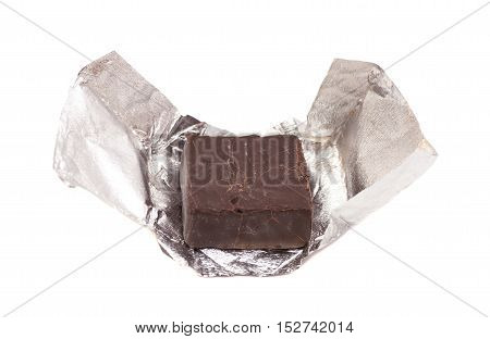 Chocolate candy in foil isolated on white background