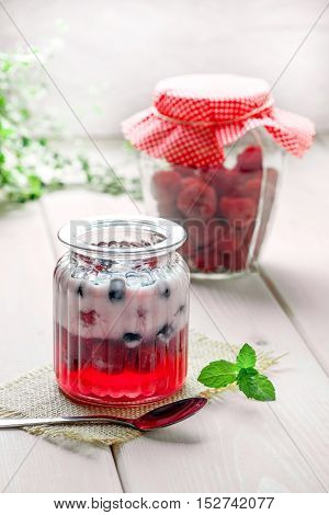 Vanilla Panna Cotta With Raspberry Jelly.