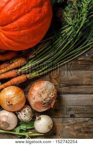 Raw vegetables for pumpkin soup