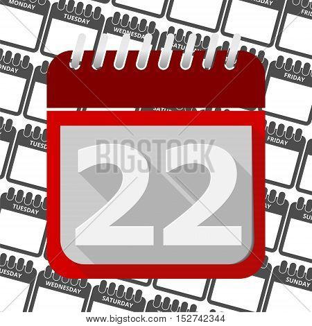 Red Calendar - Vector Icon number 22