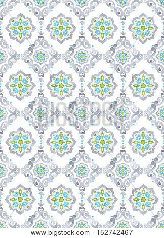 Watercolor filigree seamless pattern renaissance tiling ornament. Delicate pastel openwork lace pattern. Soft gray blue and green revival tracery design