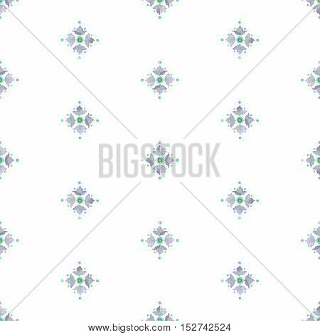 Watercolor filigree seamless pattern renaissance tiling ornament. Delicate pastel floral pattern. Soft gray blue and green revival tracery design. Stylized heraldic lily