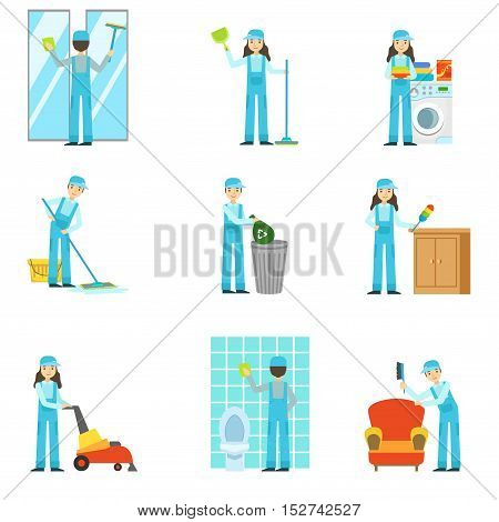 Professional Clean Up Service Set Of Illustrations. Simplified Bright Color Drawings With People Doing Different Household Cleaning In Blue Dungarees.