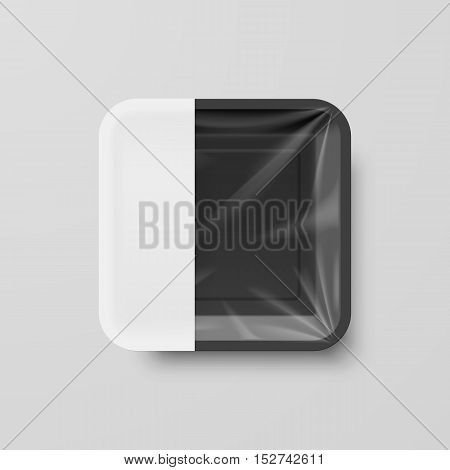 Empty Black Plastic Food Square Container with Empty Label on Gray