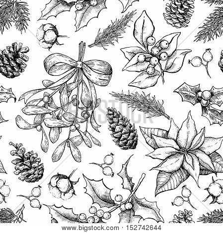 Christmas botanical seamless pattern. Hand drawn vector background. Xmas plants. Holiday engraved decorations. Holly, mistletoe, poinsettia, fir tree, pine cone, cotton, berry Great for holiday decor