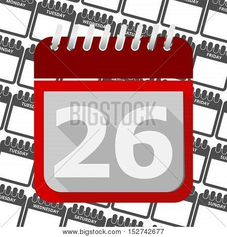 Red Calendar - Vector Icon number 26