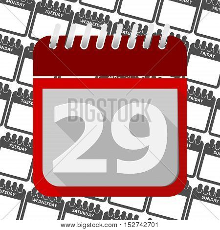 Red Calendar - Vector Icon number 29