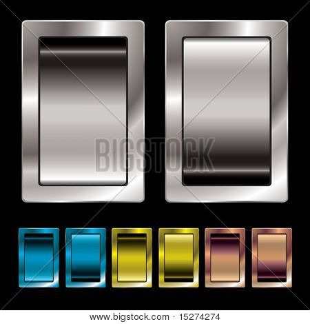 Silver metal surround switch with colour variation in on and off position