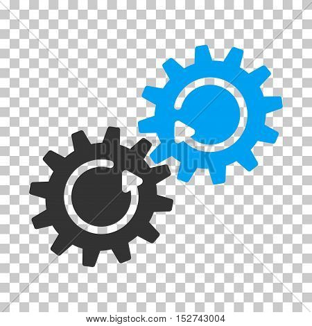 Blue And Gray Gear Mechanism Rotation interface toolbar pictogram. Vector pictograph style is a flat bicolor symbol on chess transparent background.