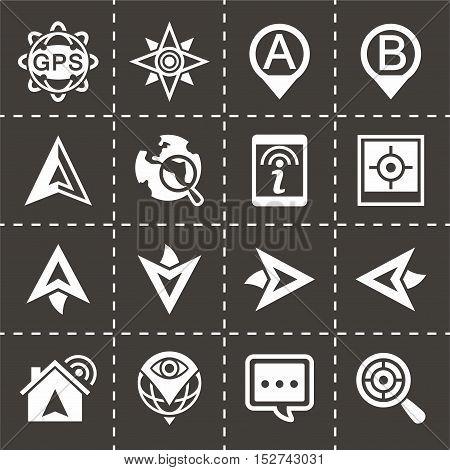 Vector Navigation icon set on black background