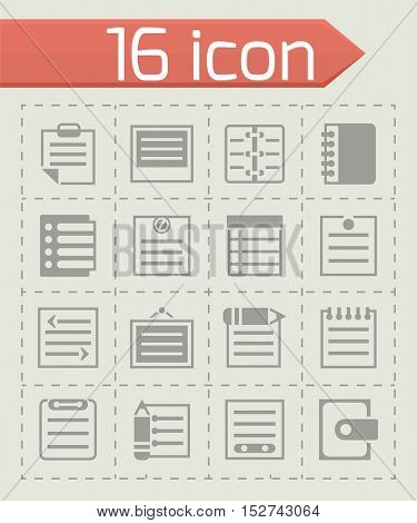 Vector Notes icon set on grey background