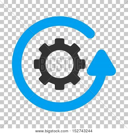Blue And Gray Gearwheel Rotation Direction toolbar icon. Vector pictogram style is a flat bicolor symbol on chess transparent background.