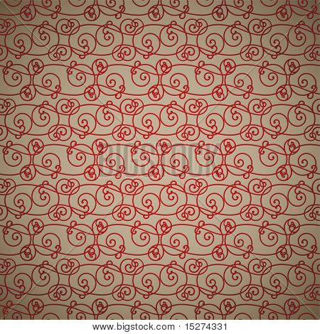 interlinking red and fawn abstract background repeating design