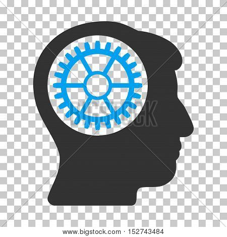 Blue And Gray Head Cogwheel interface toolbar icon. Vector pictograph style is a flat bicolor symbol on chess transparent background.