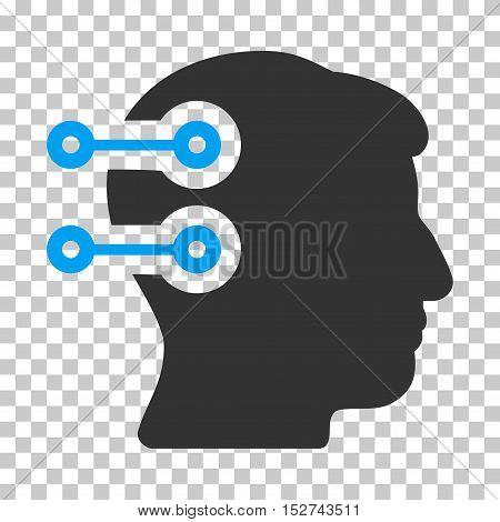 Blue And Gray Head Connectors toolbar icon. Vector pictogram style is a flat bicolor symbol on chess transparent background.