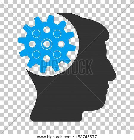 Blue And Gray Head Gear interface toolbar pictogram. Vector pictogram style is a flat bicolor symbol on chess transparent background.