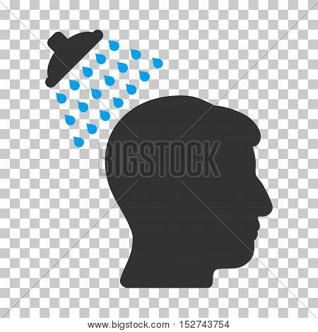 Blue And Gray Head Shower interface icon. Vector pictogram style is a flat bicolor symbol on chess transparent background.