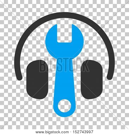 Blue And Gray Headphones Tuning Wrench interface pictogram. Vector pictograph style is a flat bicolor symbol on chess transparent background.