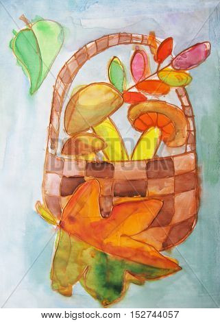 The image of the wicker basket with mushrooms.Watercolor painting