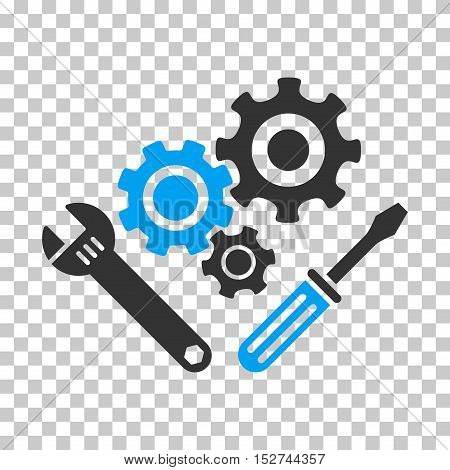 Blue And Gray Mechanics Tools toolbar icon. Vector pictogram style is a flat bicolor symbol on chess transparent background.