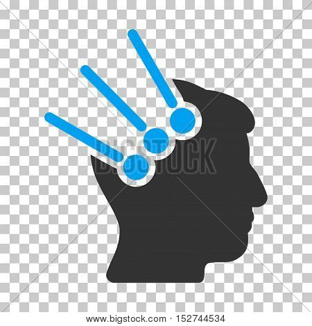 Blue And Gray Neural Interface Connectors interface pictogram. Vector pictograph style is a flat bicolor symbol on chess transparent background.