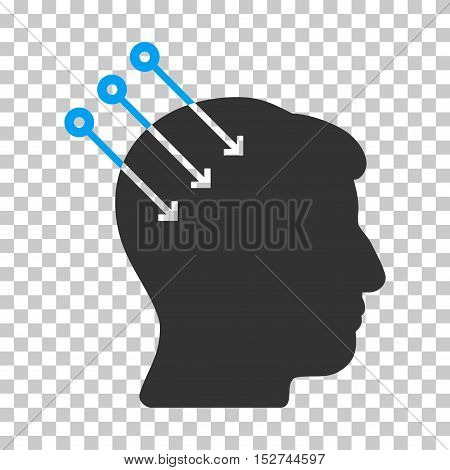 Blue And Gray Neural Interface Connectors toolbar pictogram. Vector pictogram style is a flat bicolor symbol on chess transparent background.