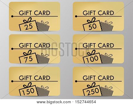 Gift Card With A Gift Box. Realistic Gift Card With A Gradient Background Color. Set Of Vector Illus